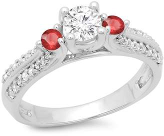DazzlingRock Collection 14K White Gold Round Cut Ruby & White Diamond Ladies Bridal 3 Stone Engagement Ring (Size 9.5)