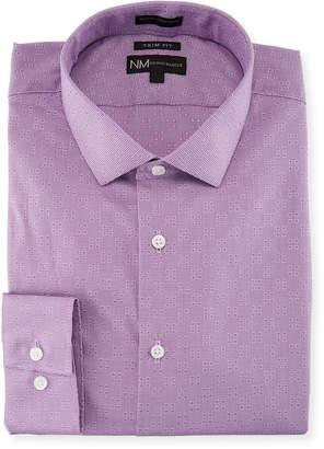 Neiman Marcus Trim-Fit Regular-Finish Micro-Dobby Dress Shirt, Purple