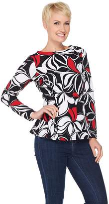 Susan Graver Printed Textured Knit Long Sleeve Top w/ Back Zipper