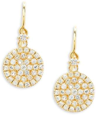 Suzanne Kalan Women's White Sapphire and 14K Yellow Gold Circle Drop Earrings