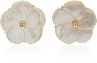 Bahina 18K Gold Mother Of Pearl and Green Amethyst Stud Earrings