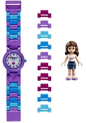 Lego Friends 8020165 Kids Buildable Watch with Link Bracelet and Minifigure | purple/white | plastic | 25mm case diameter| analog quartz | boy girl | official