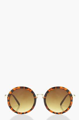 boohoo Contrast Tortoiseshell Round Sunglasses
