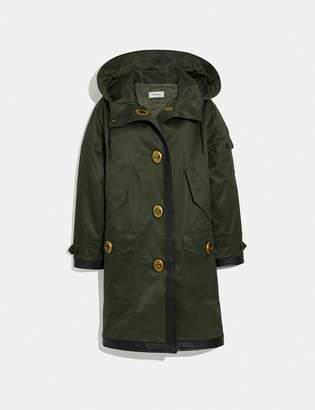 Coach Long Parka With Leather Trim