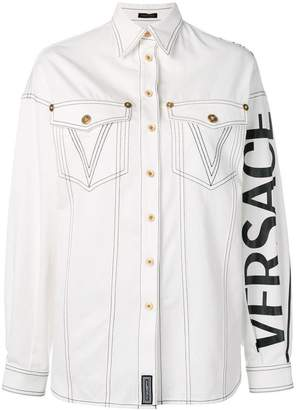 Versace logo denim shirt