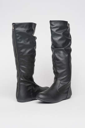 548b33846e6 Black Leather Boots Knee High Mid Heel - ShopStyle Canada