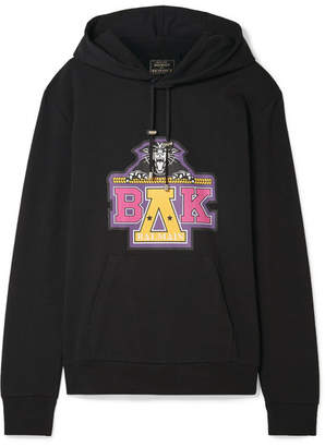 Balmain Beyoncé Coachella Printed Cotton-blend Jersey Hooded Top - Black