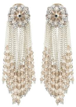 Oscar de la Renta Glass crystal drop clip-on earrings