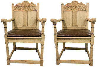 One Kings Lane Vintage 19th-C. Bleached Oak French Chairs,Pair - Von Meyer Ltd.