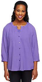 Denim & Co. 3/4 Sleeve Gauze Peasant Shirt withKnit Tank