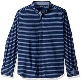 Nautica Men's Standard Long Sleeve Horizontal Stripe Button Down Shirt