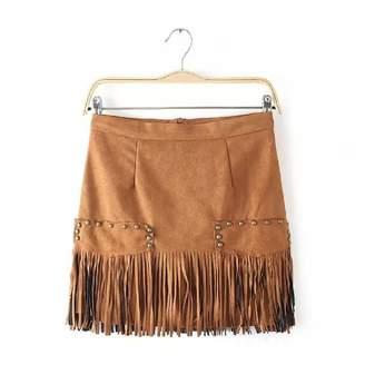 Generic Women's Fringe Faux Suede Tassel Rivet Skirt Khaki High Quality (ASIAN S)