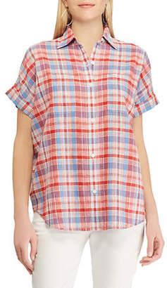 Chaps Short-Sleeve Plaid Button-Down Shirt