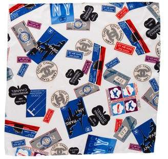 Chanel Paris-New York Silk Pocket Square