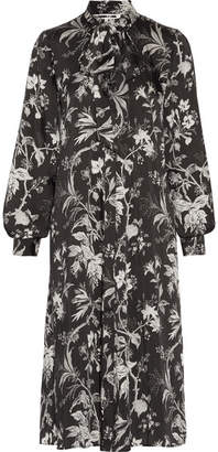 McQ Alexander McQueen - Pussy-bow Printed Satin-twill Midi Dress - Black $670 thestylecure.com
