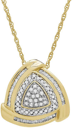 FINE JEWELRY Womens 1/4 CT. T.W. Genuine White Diamond 14K Gold Over Silver Triangle Pendant Necklace
