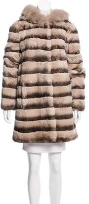 Glamour Puss Glamourpuss Hooded Mixed Fur Coat w/ Tags