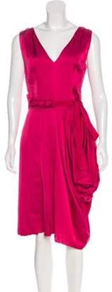Nina Ricci Pleated Satin Dress w/ Tags Fuchsia Pleated Satin Dress w/ Tags