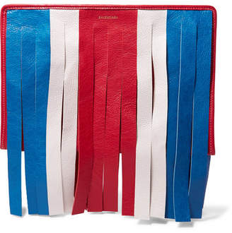 Balenciaga Bazar Fringed Striped Textured-leather Pouch
