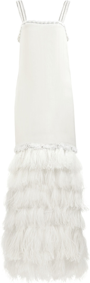 Lanvin Feather-trimmed georgette gown