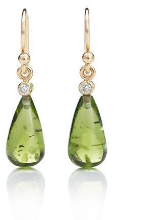 Gump's Peridot Smooth Drop & Diamond Earrings