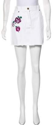 Michael Kors Embroidered Denim Skirt