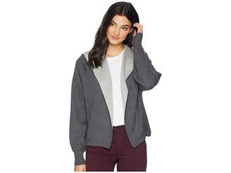 Michael Stars Luxe Cotton Blend Reversible Hooded Cardigan