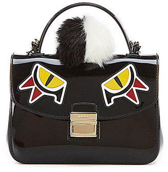 Furla Candy Jungle Sugar Mini Cross-Body Bag with Dyed Raccoon Fur Pom $248 thestylecure.com