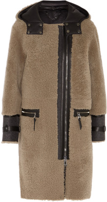 Belstaff Ava leather-paneled shearling coat $5,595 thestylecure.com