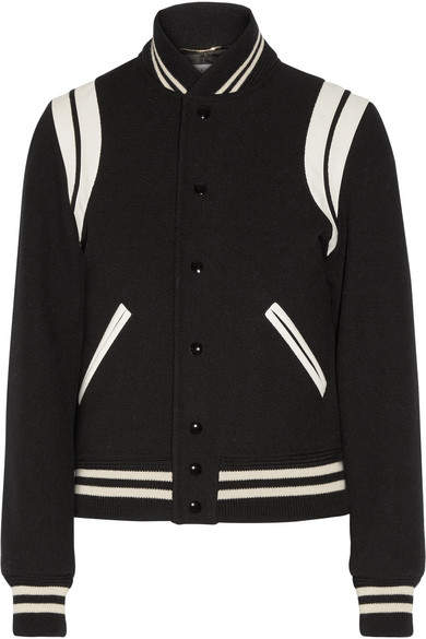 Saint Laurent Saint Laurent - Leather-trimmed Wool-blend Bomber Jacket - Black