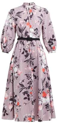 Erdem Adrienne Isabelle Print Cotton Poplin Midi Dress - Womens - Burgundy Print