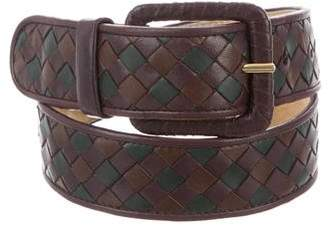 Bottega Veneta Intrecciato Leather Buckle Belt