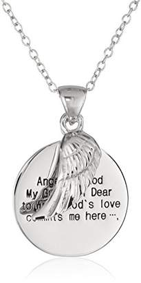 Sterling Angel of God and Wing Pendant Necklace