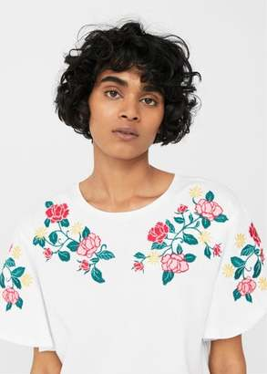 MANGO Roses embroidered t-shirt $35.99 thestylecure.com