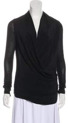 Victoria Beckham Silk-Blend Plunging Neck Top