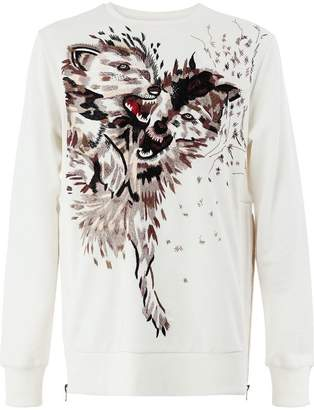 Ih Nom Uh Nit wolf embroidered sweatshirt