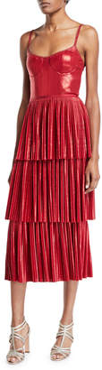 Marchesa Pleated Lame Tiered Cocktail Dress w/ Metallic Trims