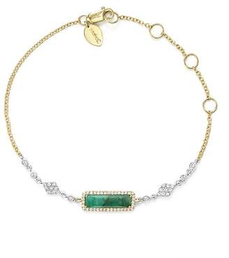 Meira T 14K Yellow and White Gold Emerald Bracelet with Diamonds