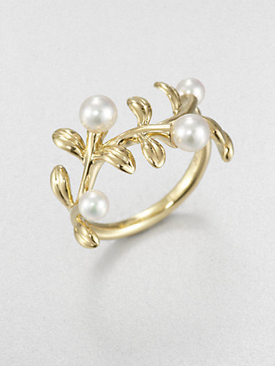 Mikimoto 3.75MM-4.75MM White Akoya Cultured Pearl & 18K Gold Ring