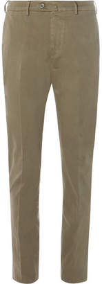 Loro Piana Brushed Stretch-Cotton Chinos - Men - Green