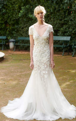 Costarellos Bridal V Neckline Flower Embellished Mermaid Gown