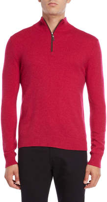 Qi Suede Trim Quarter-Zip Cashmere Sweater