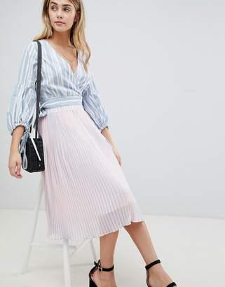 boohoo Stripe Pleated Midi Skirt