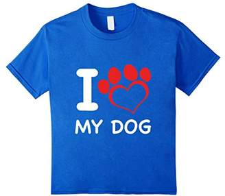 I Love My Dog T-shirt with Heart-shaped Paw Print