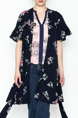 Umgee USA Floral Ruffle Kimono