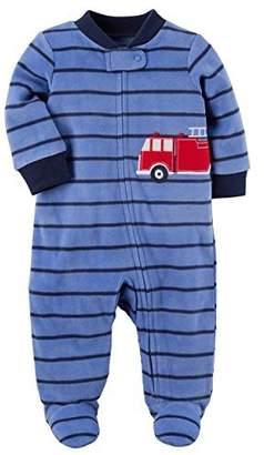 Carter's Baby Boys' Fleece Zip Up Sleep And Play Firetruck Striped Footies