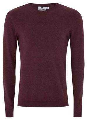 Topman Mens Red Burgundy and Black Twist Side Ribbed Sweater