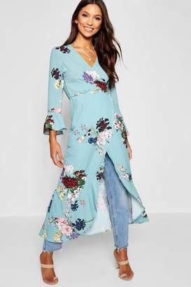 boohoo Satin Floral Maxi Ruffle Kimono