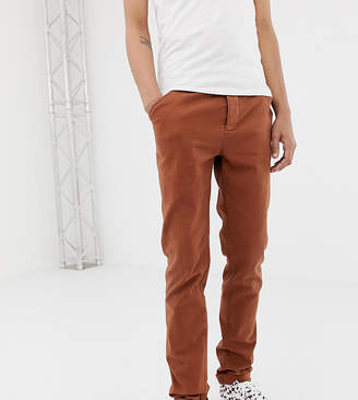 Asos DESIGN Tall slim heavyweight chinos in washed brown with turn up