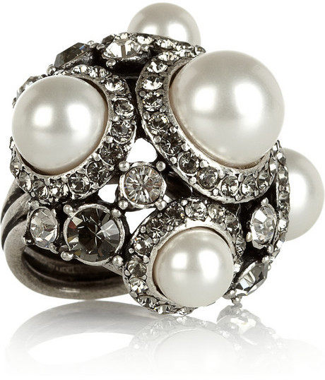 Lanvin Glass pearl and crystal ring